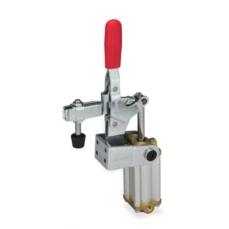 GN 862.1 Toggle clamps, pneumatic, with additional manual operation Type: CPV3S - U-bar version, with two flanged washers and clamping screw GN 708.1