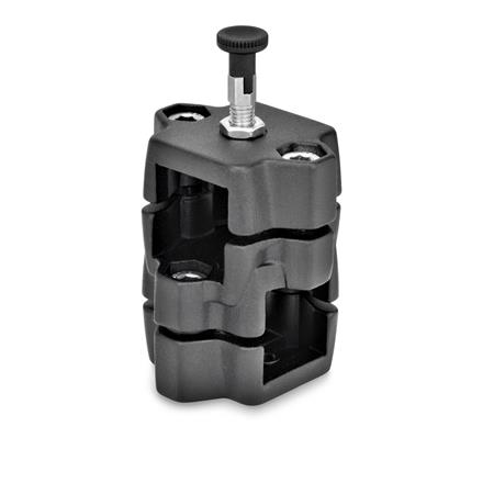 GN 134.7 Locking slide units Type: R - with indexing plunger Finish: SW - Black, RAL 9005, textured finish