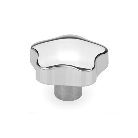 GN 5336 Sterngriffe, Aluminium Form: E - mit Gewinde-Sackloch Oberfläche: PL - poliert