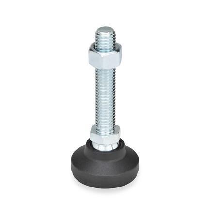 GN 343.4 Gelenkfüße, Fuß Kunststoff / Verstellspindel Stahl Form: G - mit Gummiauflage