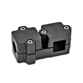GN 194 T-Angle connector clamps, Aluminum d<sub>1</sub> / s<sub>1</sub>: B - Bore<br />d<sub>2</sub> / s<sub>2</sub>: V - Square<br />Finish: SW - Black, RAL 9005, textured finish