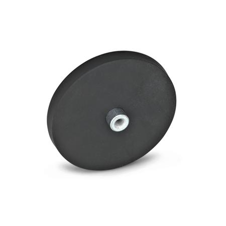 GN 51.2 Retaining magnets with female thread, with rubber jacket Color: SW - black