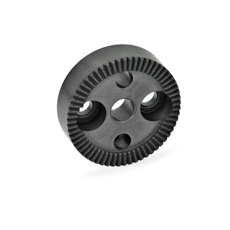 GN 187.4 Serrated locking plates, Sintered Steel Type: B - with drilling in the center, with two countersunk holes for cap screws<br />