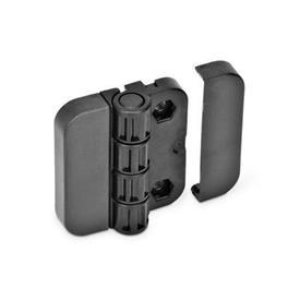 GN 122.1 Scharniere mit 4 Raststellungen, Kunststoff Form: EH - 2x2 Bohrungen für Sechskantschrauben