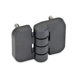 GN 158 Hinges, Plastic Type: C - 2x2 threaded studs