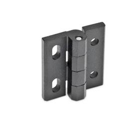 GN 235 Hinges, adjustable, Zinc die casting Material: ZD - Zinc die casting<br />Type: DH - with through-holes, horizontal adjustable<br />Finish: SW - black, RAL 9005, textured finish