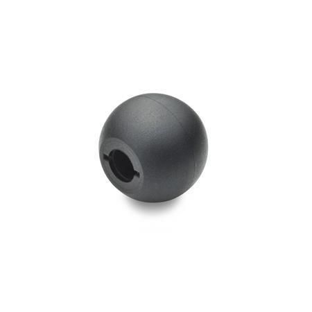 DIN 319 Kugelknöpfe, Montage durch Aufschlagen Werkstoff: KT - Kunststoff Form: M - mit kegeliger Bohrung