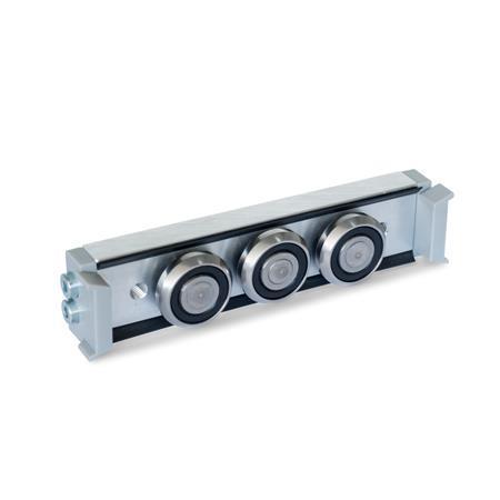 GN 2424 Rollenläufer Form: N - Normal-Rollenläufer, mittige Anordnung Ausführung: U - mit Abstreifer für Loslager-Laufschiene (U-Schiene)