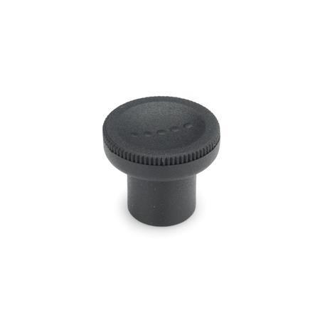 GN 676 Knurled knobs, Plastic Color: SG - black-gray, RAL 7021, matte