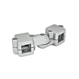 GN 289 Swivel clamp connector joints, two-part clamp pieces Square s<sub>1</sub>: V 45<br />Type: S - stepless adjustment<br />Identification no.: 2 - with 5 Stainless Steel-clamping screws DIN 912<br />Finish: BL - blank