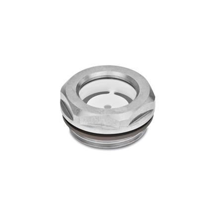 GN 743.5 Stainless Steel-Oil level sight glasses, ESG-glass Type: A - with reflector