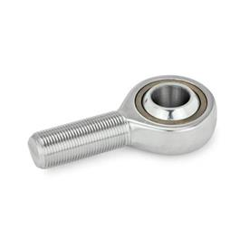 GN 648.6 Ball joint heads with threaded bolt, Stainless Steel Type: WH - Bronze-PTFE / Steel self lubricated