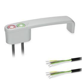 GN 422 Bügelgriffe, mit elektrischer Schaltfunktion, mit Kabel Form: T2 - mit 2 Taster<br />Oberfläche: SR - silber, RAL 9006, strukturmatt