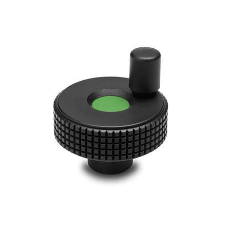 GN 735 Control Handwheels, Plastic, Colored Cover Cap Color of the cover cap: DGN - Green, RAL 6017, matte