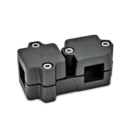 GN 194 T-Angle connector clamps, Aluminium Square s<sub>1</sub>: V 40 Finish: SW - black, RAL 9005, textured finish Identification No.: 2 - with 4 Stainless Steel-clamping screws DIN 912