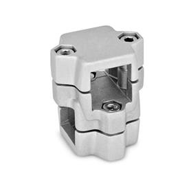 GN 134 Two-way connector clamps, multi part assembly, same bore dimensions d<sub>1</sub> / s<sub>1</sub>: V - Square<br />d<sub>2</sub> / s<sub>2</sub>: V - Square<br />Finish: BL - blank, tumbled