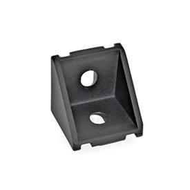 GN 961 Angle pieces for profile systems 30 / 40, Aluminium Type of angle piece: A - without assembly set, without cover<br />Finish: SW - black, RAL 9005, textured finish