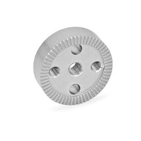 GN 187.4 Rastscheiben, Edelstahl Form: C - mit Gewindebohrung d3 im Zentrum, mit zwei Gewindebohrungen zum Anschrauben