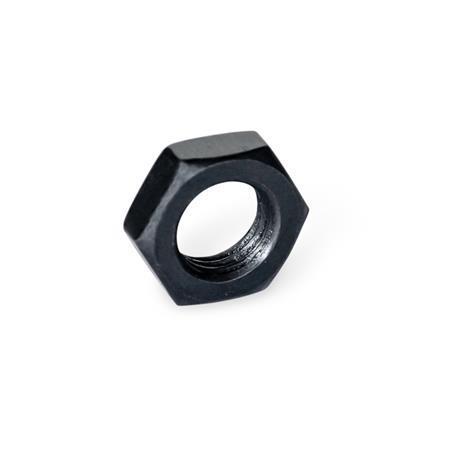 ISO 8675 Matalamuotoiset kuusiomutterit, taajakierteellä, teräs Pinta: BT - mustattu