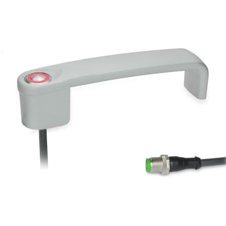 GN 422 Empuñaduras de estribo, con interruptor eléctrico, con conector Tipo: T1 - con 1 botón Acabado: SR - plateado, RAL 9006, acabado texturado