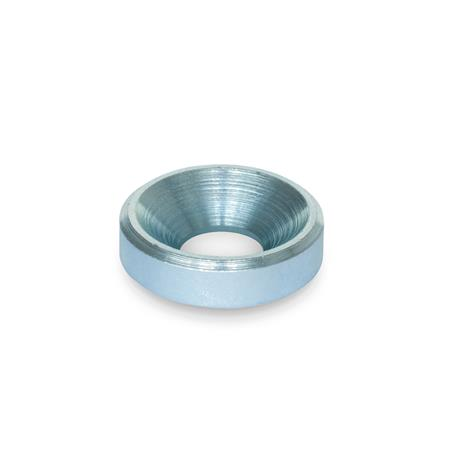 GN 6341 Washers, Steel Finish: ZB - zinc plated, blue passivated Type: B - with bore for countersunk screw