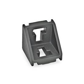 GN 960 Kulmapalat profiilijärjestelmille 30 / 40 / 45, alumiini Tyyppi: A - ilman asennussarjaa, ilman kantta<br />Pinta: SW - musta, RAL 9005, teksturoitu viimeistely