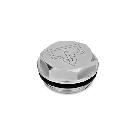GN 741 Threaded plugs with and without symbols, Aluminium, resistant up to 100°C, blank Type: AS - with DIN drain symbol, blank Identification no.: 1 - without vent drilling