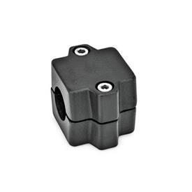 GN 241 Raccords de tube, aluminium d<sub>1</sub> / s: B - Alésage<br />Finition: SW - noir, RAL 9005, finition texturée