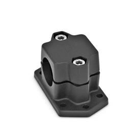 GN 147.3 Flanged connector clamps, Aluminum Finish: SW - black, RAL 9005, textured finish