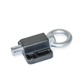 GN 722.6 Indexing Plungers, with Flange for Surface Mounting, Parallel to the Plunger Pin Type: A - With pull ring<br />Finish: SW - Black, RAL 9005, textured finish