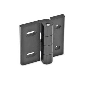 GN 235 Hinges, adjustable, Zinc die casting Material: ZD - Zinc die casting<br />Type: DB - with through-holes, vertical adjustable<br />Finish: SW - black, RAL 9005, textured finish