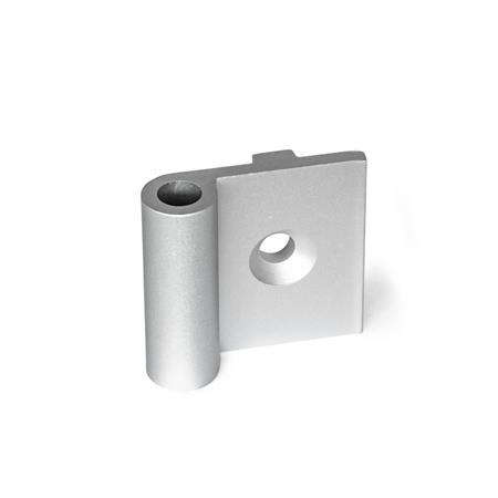 GN 2291 Hinge wings, for aluminum profiles / panel elements Type: AN - exterior hinge wing, with guide step Identification no.: C - with countersunk holes