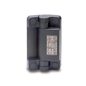 GN 239.6 Charnières inox avec contacteur de sécurité et connecteur, plastique Type: CS - Connecteur à l'arrière