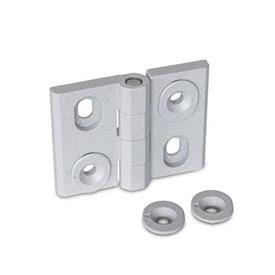 GN 127 Hinges, adjustable, Zinc die casting Type: H - vertically adjustable<br />Finish: SR - silver, RAL 9006, textured finish