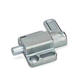 GN 722.3 Spring Latches with Flange for Surface Mounting, Parallel to the Plunger Pin Type: R - Right indexing cam<br />Finish: ZB - zinc plated, blue passivated