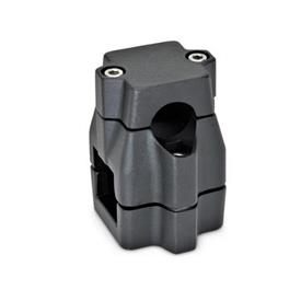 GN 135 Two-way connector clamps, multi part assembly, unequal bore dimensions d<sub>1</sub> / s<sub>1</sub>: B - Bore<br />d<sub>2</sub> / s<sub>2</sub>: V - Square<br />Finish: SW - black, RAL 9005, textured finish