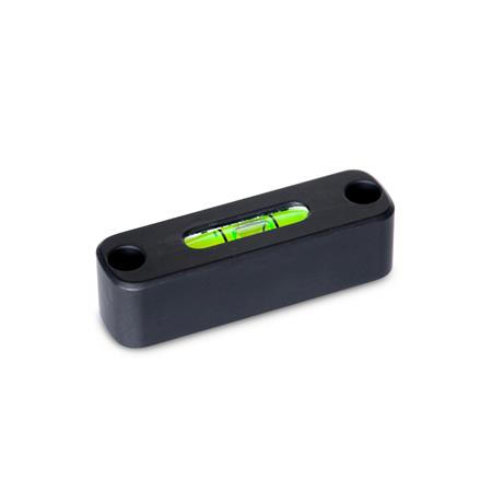GN 2283 Screw-On Spirit Levels, for Mounting with Screws Material / Finish: ALS - Anodized black Sensitivity: 50 - Angle minutes, bubble move by 2 mm Type: AV - Aligned, mounting from the front side (not adjustable)