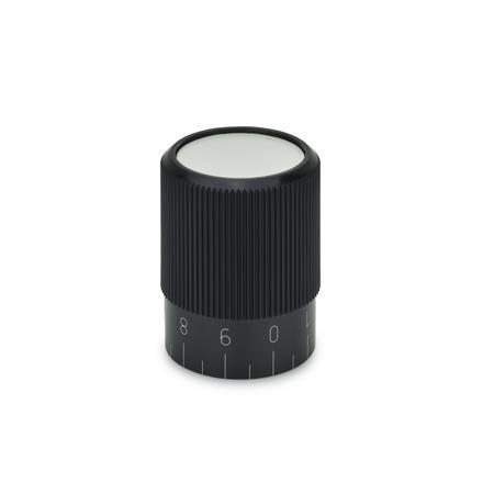 GN 626 Drehknöpfe, Kunststoff Form: S - mit Skala 0...9, 20 Teilstriche