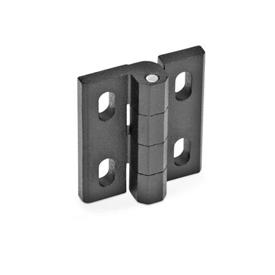 GN 235 Hinges, adjustable, Zinc die casting Material: ZD - Zinc die casting<br />Type: H - horizontal adjustable<br />Finish: SW - black, RAL 9005, textured finish