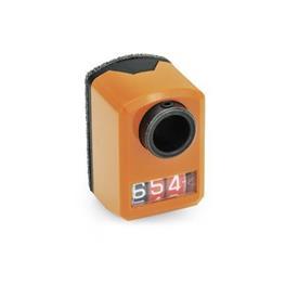 GN 955 Asennon ilmaisimet, digitaaliset, 3 numeroa Asentaminen (nähtynä edestä): FR - edessä, alapuolella<br />Väri: OR - oranssi, RAL 2004