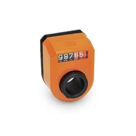 GN 953 Asennon ilmaisimet, digitaaliset, 5 numeroa Asentaminen (nähtynä edestä): FN - edessä, yläpuolella<br />Väri: OR - oranssi, RAL 2004
