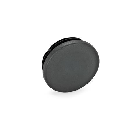 GN 991 Tapones para tubos, plástico, redondos o cuadrados d / s: D - Diámetro Color: SW - negro, RAL 9005, mate