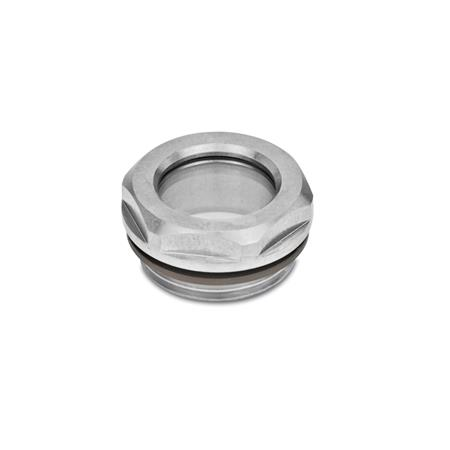 GN 743.5 Stainless Steel-Oil level sight glasses, ESG-glass Type: B - without reflector