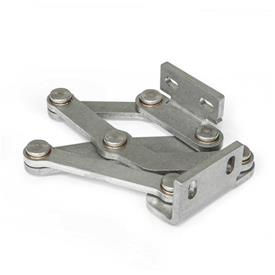 GN 7233 Stainless Steel-Multiple-joint hinges, concealed, opening angle 120° Type: L - Fixing angle piece left