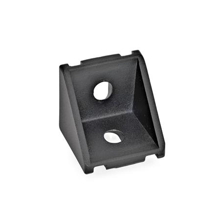 GN 961 Angle pieces for profile systems 30 / 40, Aluminium Type of angle piece: A - without assembly set, without cover Finish: SW - black, RAL 9005, textured finish