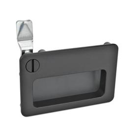 GN 115.10 Latches with gripping tray Type: SCH - Operation with slot<br />Finish: SW - black, RAL 9005, textured finish<br />Identification no.: 1 - Operation, in drawn position, at the top left