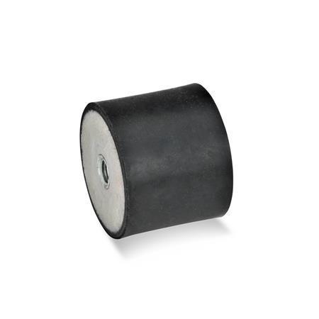 GN 351 Gummipuffer, Stahl Form: EE - mit 2 Innengewinden