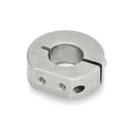 GN 7062.1 Anillos de apriete semipartidos de acero inoxidable, con orificios roscados de montaje Tipo: A - Orificios roscados de montaje, radiales