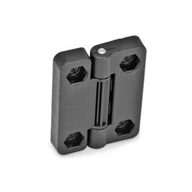GN 222 Hinges with 4 indexing positions, Plastic Type: EH - 2x2 bores for hexagon screws