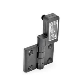 GN 239.4 Schaltscharniere mit Anschlussstecker Kennzeichen: SR - Bohrungen für Senkschraube, Schalter rechts<br />Form: CS - Anschlussstecker hinten